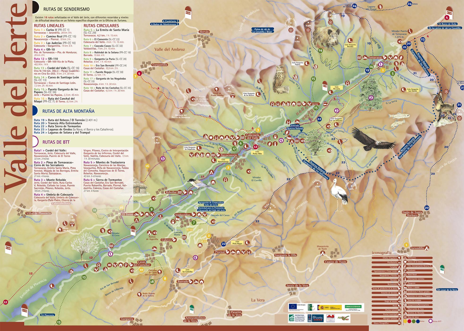 Mapa del valle del jerte for Oficina de turismo valle del jerte